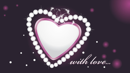 strass: Gl�nzende Herzen mit Diamanten auf dem dunklen Hintergrund