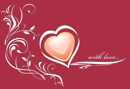 rojo oscuro: Coraz�n rosa con estilo en el fondo de color rojo oscuro