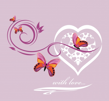 Stylish heart with butterflies  Background to the Valentines day Vector