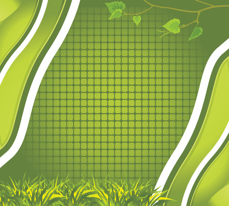 Abstract background with grass and birch branch Vector