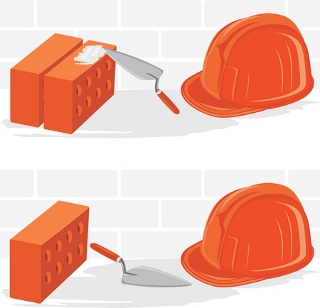 building bricks: Trowel with bricks and safety helmet