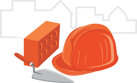 brick work: Trowel with brick and safety helmet  Icon for design Illustration