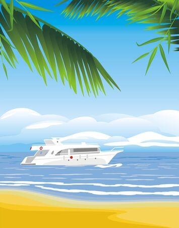 floating island: Yacht on the seascape background Illustration