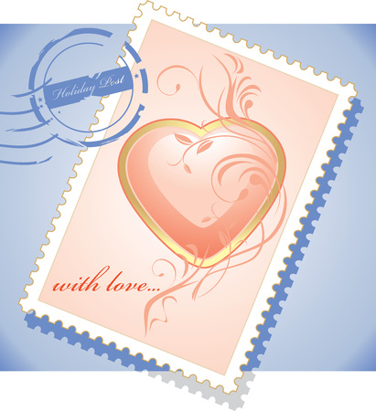 Post stamp to the Valentines day Vector