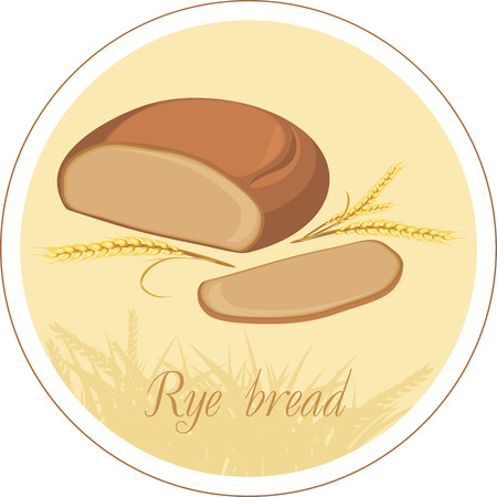 Rye bread and wheat ears  Label Vector