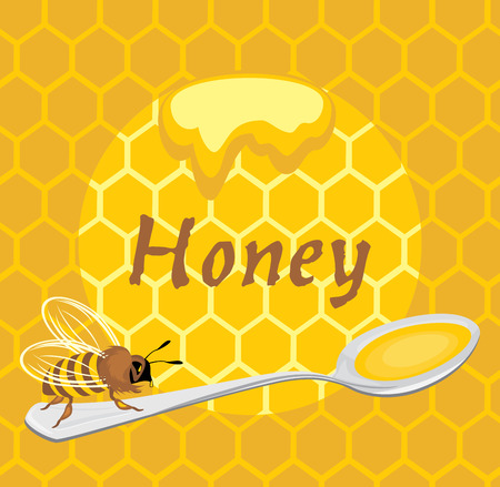 deliciously: Honeybee on the spoon  Label for design