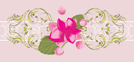 Ornamental border with blooming pink flower Vector