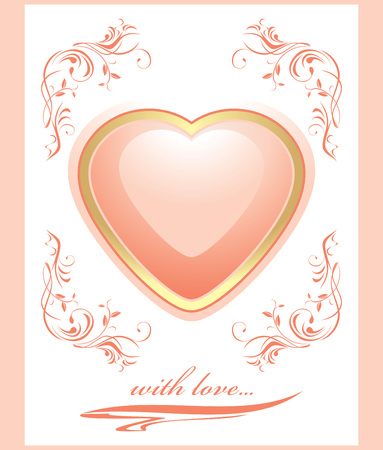 Stylish shining pink heart  Greeting card to the Valentines day Vector