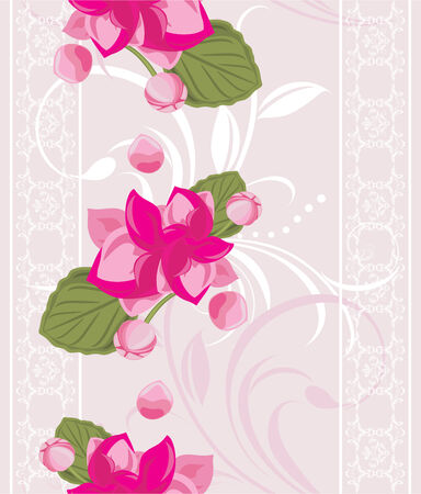 Ornamental background with white lace and pink flowers