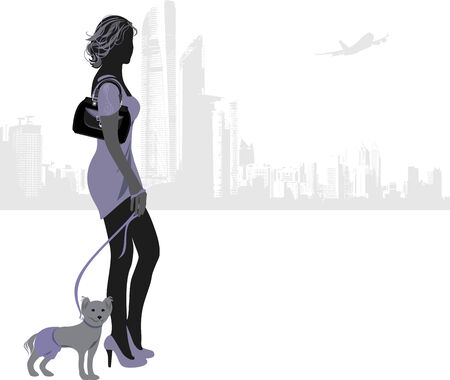 Silhouette of elegant woman with little dog on a city background Vector
