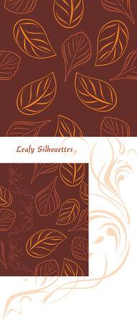 leafy: Leafy silhouettes on a brown background