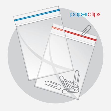 Paperclips in plastic bag Vector