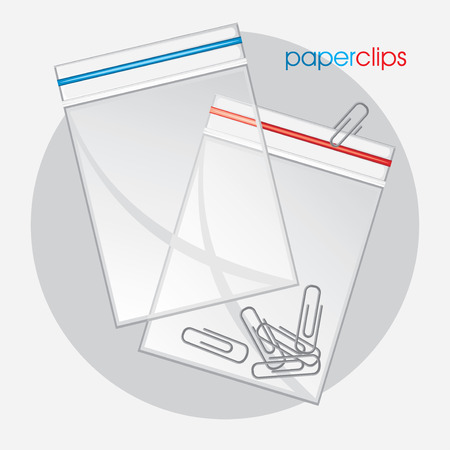 plastic bag: Paperclips in plastic bag