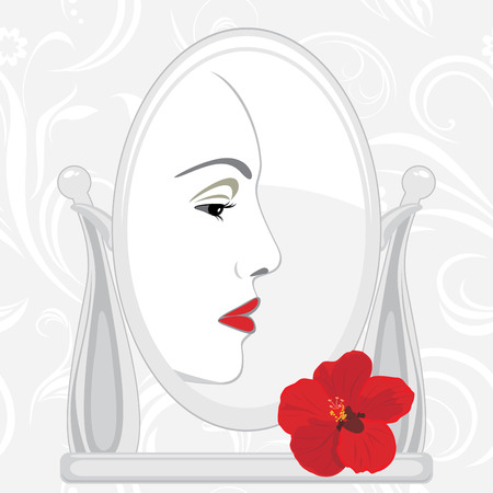 look in mirror: Female face in mirror Illustration