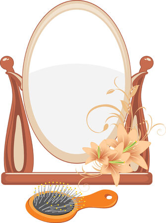 hairbrush: Mirror and hairbrush isolated on the white Illustration