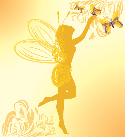 fairy silhouette: Fairy and butterflies on a yellow background