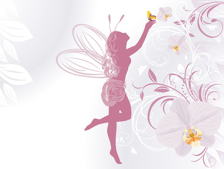 Fairy and butterfly on a decorative background with orchids Vector