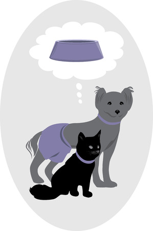 Dog and cat dreaming about a delicious pet food Vector