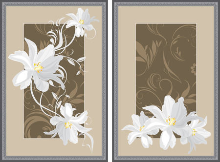 White flowers in decorative gray frame