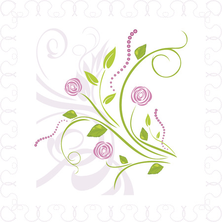 artificial flowers: Bouquet of stylized roses in ornamental frame Illustration