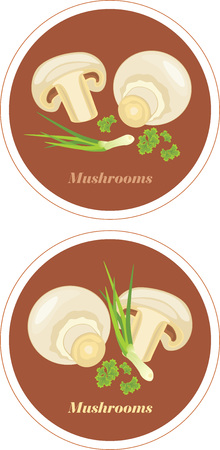 Mushrooms with parsley and chives  Icons for menu design Vector