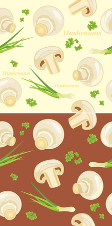 Mushrooms with parsley and chives  Seamless background Vector