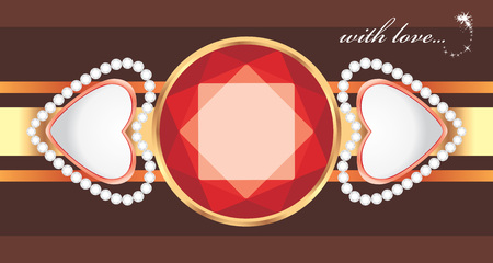 Shining gemstone with hearts  Decorative element to the Valentines day Vector