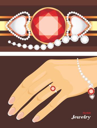 Stylish jewelry  Female bracelet and ring Illustration