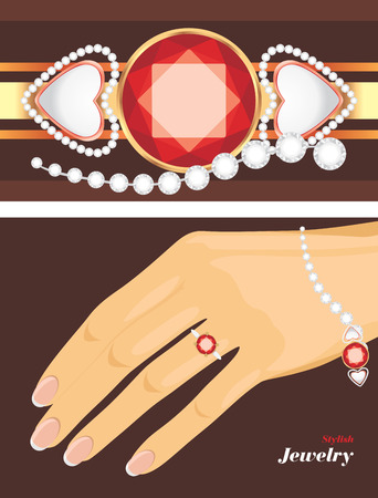 Stylish jewelry  Female bracelet and ring Vector