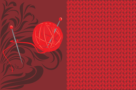 crewel: Red knitted background