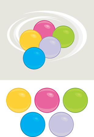"""pilates ball"": Colored balls isolated on the white and light gray"