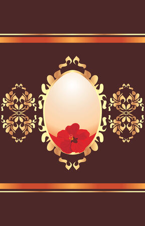 Easter egg with red flower on the ornamental shining background Vector