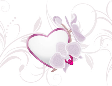 Decorative heart with blooming orchids on the ornamental background Vector
