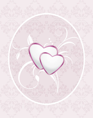 Ornamental frame with hearts  Pattern for greeting card