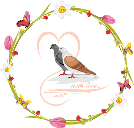 Spring wreath with butterflies and loving doves Vector