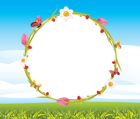 flora fauna: Wreath with butterflies and spring flowers on the landscape background Illustration