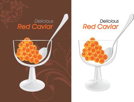 caviar: D�licieux �tiquettes de caviar rouge pour la conception Illustration