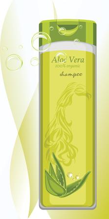 aloe: Aloe vera shampoo bottle