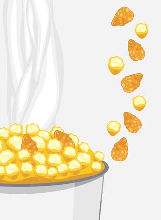 corn flakes: Corn flakes and popcorn Illustration