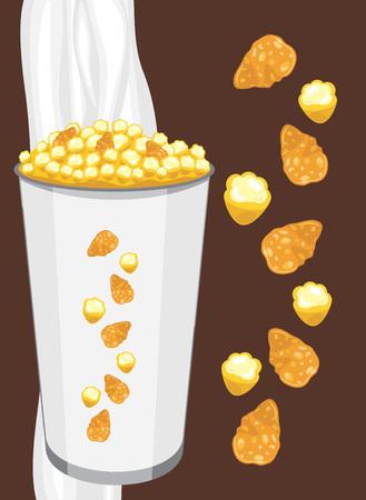 produits céréaliers: Flocons d'avoine et du maïs soufflé dans une tasse de papier sur le fond brun foncé
