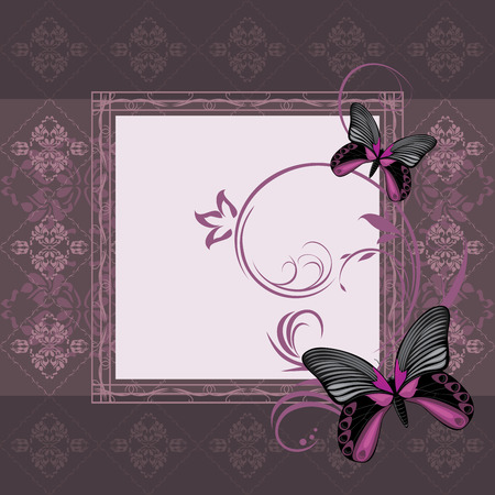 Dark violet ornamental frame with stylized butterflies Vector