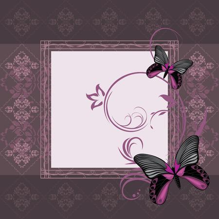 feeler: Dark violet ornamental frame with stylized butterflies Illustration