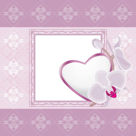 Light violet ornamental frame with heart and blooming orchids Vector