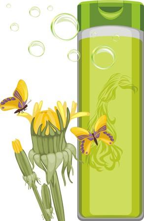 Dandelion shampoo bottle Illustration