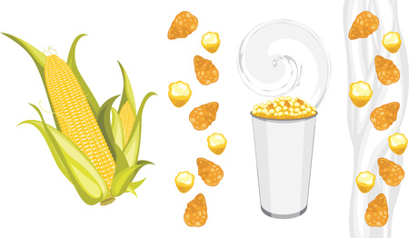 deliciously: Corn flakes and popcorn products Illustration