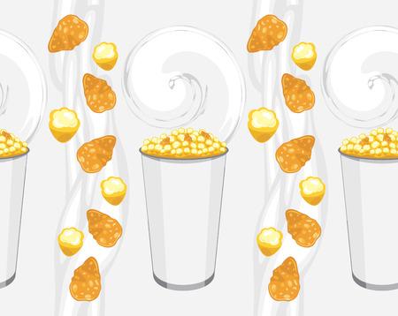 Seamless avec des flocons de maïs et de produits de maïs soufflé