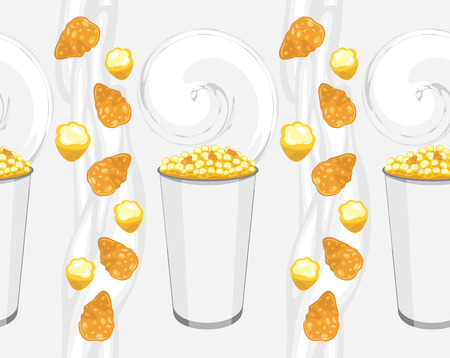 deliciously: Seamless background with corn flakes and popcorn products Illustration