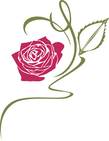 Ornamental element with stylized rose Vector