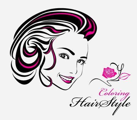 Coloring hairstyle Vector
