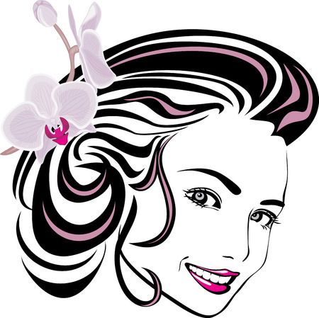 Portrait of a beautiful woman with orchid in hair Vector